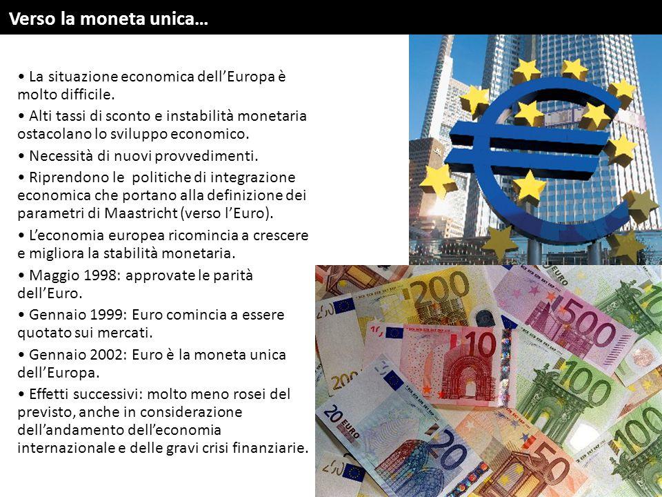 La situazione economica dell'Europa è molto difficile. Alti tassi di sconto e instabilità monetaria ostacolano lo sviluppo economico. Necessità di nuo