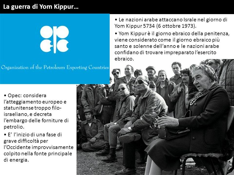 La guerra di Yom Kippur… Le nazioni arabe attaccano Israle nel giorno di Yom Kippur 5734 (6 ottobre 1973). Yom Kippur è il giorno ebraico della penite