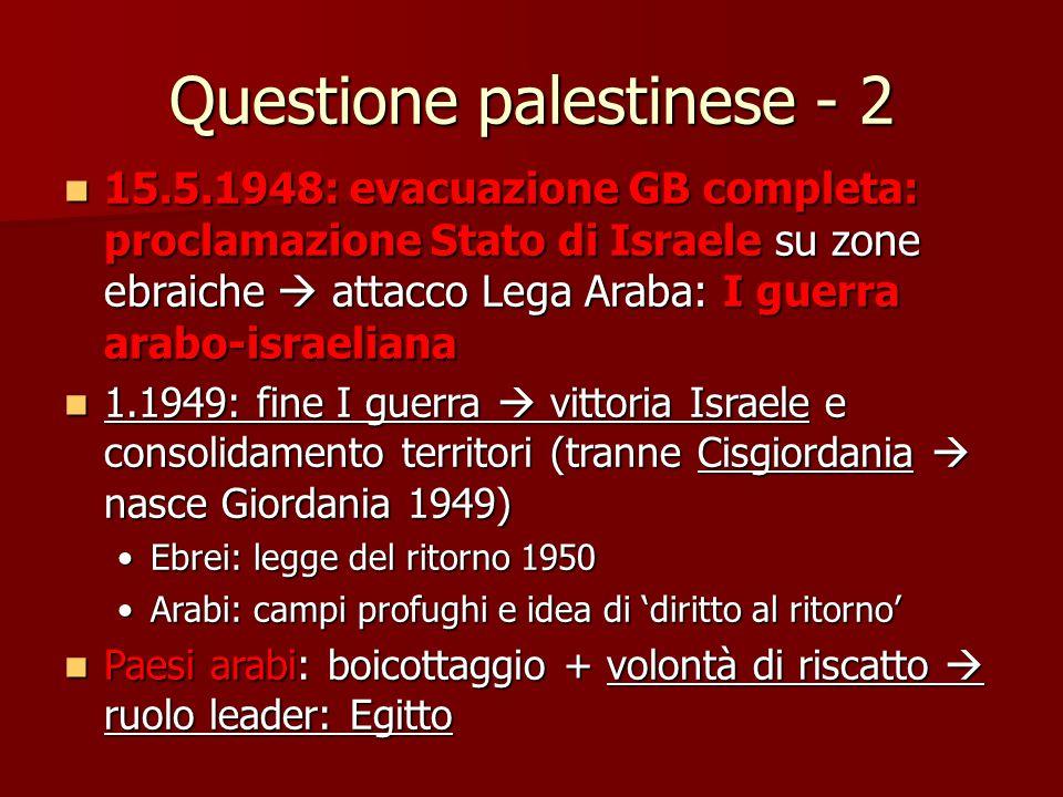 Questione palestinese - 2 15.5.1948: evacuazione GB completa: proclamazione Stato di Israele su zone ebraiche  attacco Lega Araba: I guerra arabo-isr