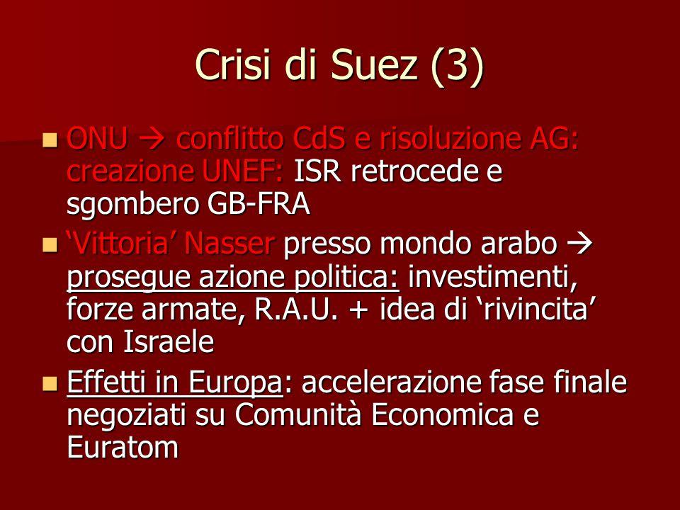 Crisi di Suez (3) ONU  conflitto CdS e risoluzione AG: creazione UNEF: ISR retrocede e sgombero GB-FRA ONU  conflitto CdS e risoluzione AG: creazion