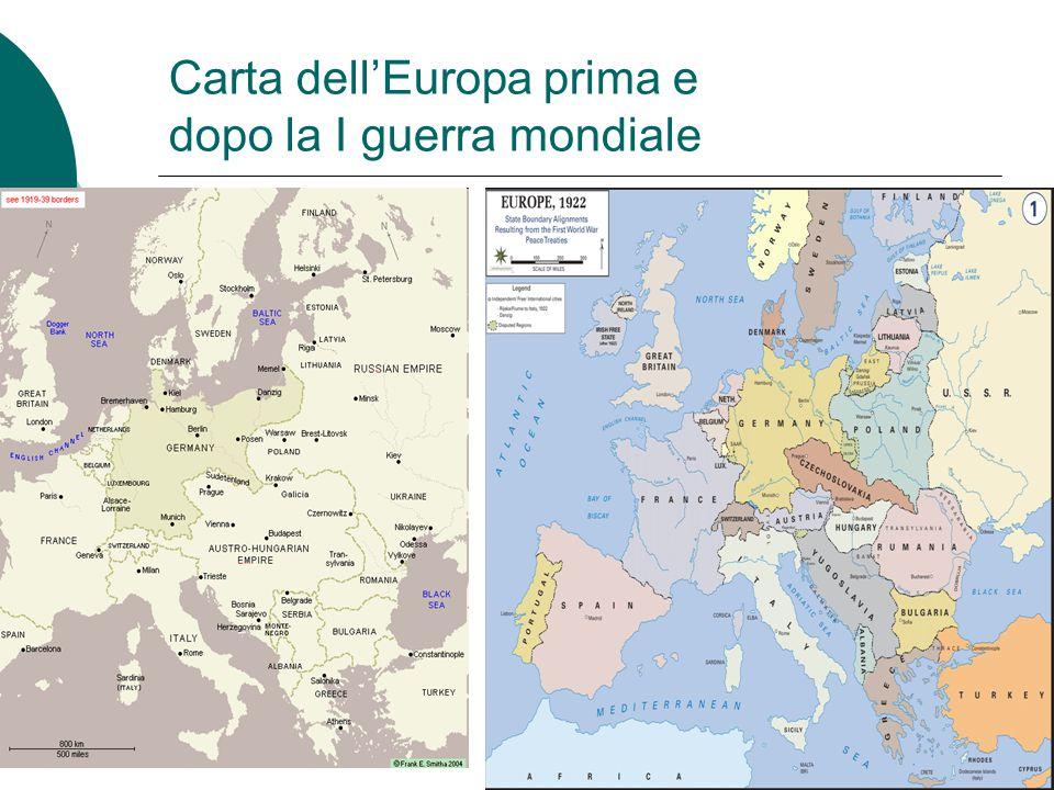 Carta dell'Europa prima e dopo la I guerra mondiale
