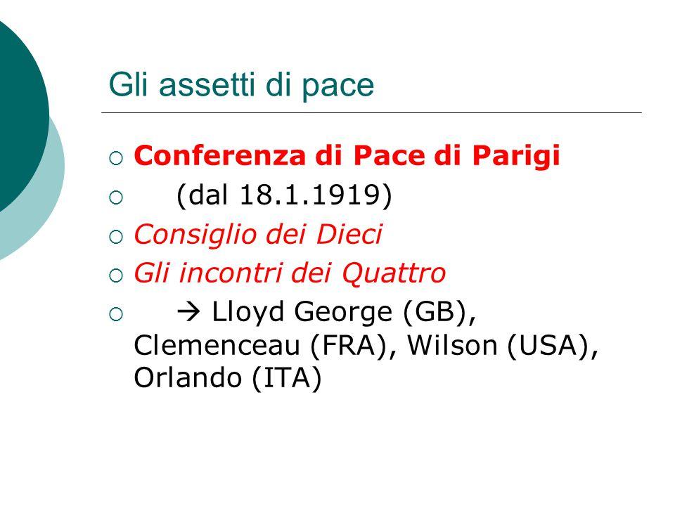Gli assetti di pace  Conferenza di Pace di Parigi  (dal 18.1.1919)  Consiglio dei Dieci  Gli incontri dei Quattro   Lloyd George (GB), Clemencea
