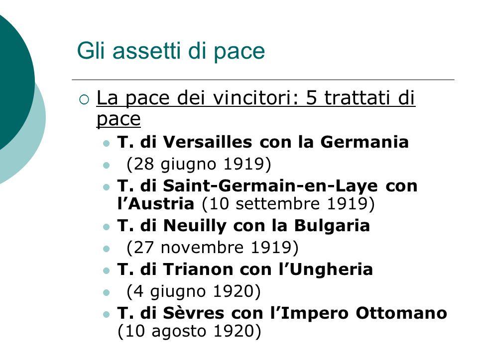 Gli assetti di pace  La pace dei vincitori: 5 trattati di pace T. di Versailles con la Germania (28 giugno 1919) T. di Saint-Germain-en-Laye con l'Au
