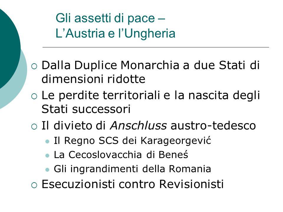 Gli assetti di pace – L'Austria e l'Ungheria  Dalla Duplice Monarchia a due Stati di dimensioni ridotte  Le perdite territoriali e la nascita degli
