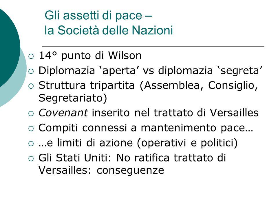 Gli assetti di pace – la Società delle Nazioni  14° punto di Wilson  Diplomazia 'aperta' vs diplomazia 'segreta'  Struttura tripartita (Assemblea,