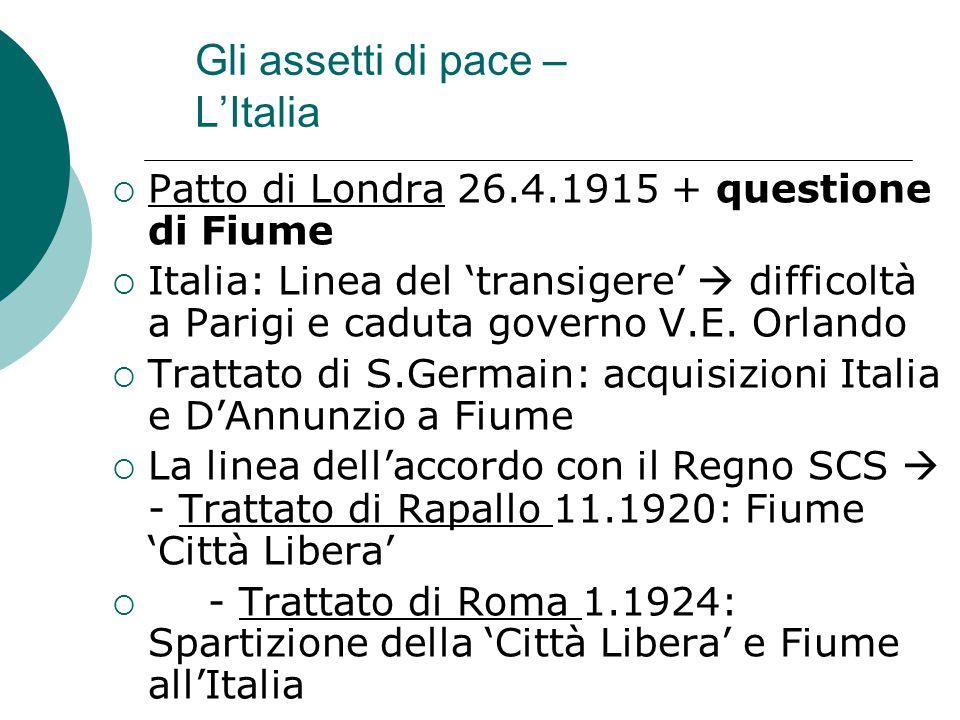 Gli assetti di pace – L'Italia  Patto di Londra 26.4.1915 + questione di Fiume  Italia: Linea del 'transigere'  difficoltà a Parigi e caduta govern