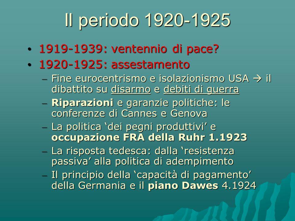 Il periodo 1920-1925 1919-1939: ventennio di pace? 1919-1939: ventennio di pace? 1920-1925: assestamento 1920-1925: assestamento – Fine eurocentrismo