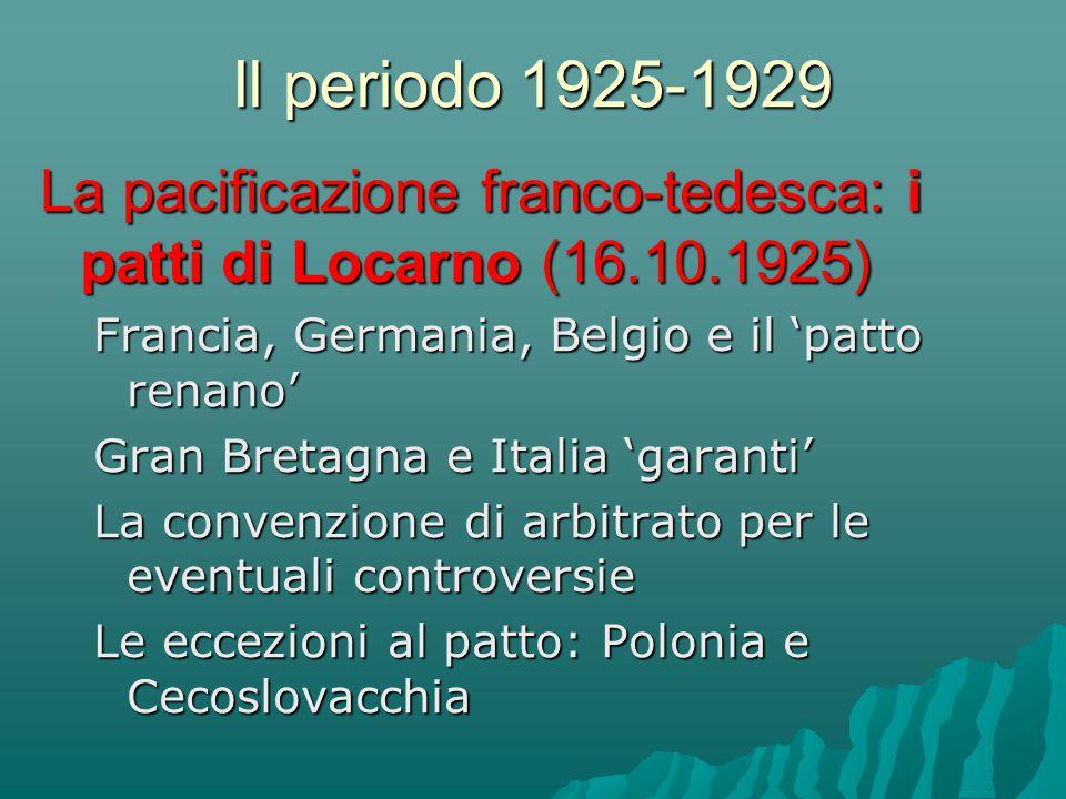 Il periodo 1925-1929 La pacificazione franco-tedesca: i patti di Locarno (16.10.1925) Francia, Germania, Belgio e il 'patto renano' Gran Bretagna e It