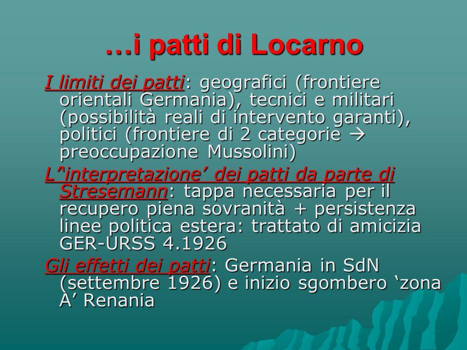 …i patti di Locarno I limiti dei patti: geografici (frontiere orientali Germania), tecnici e militari (possibilità reali di intervento garanti), polit