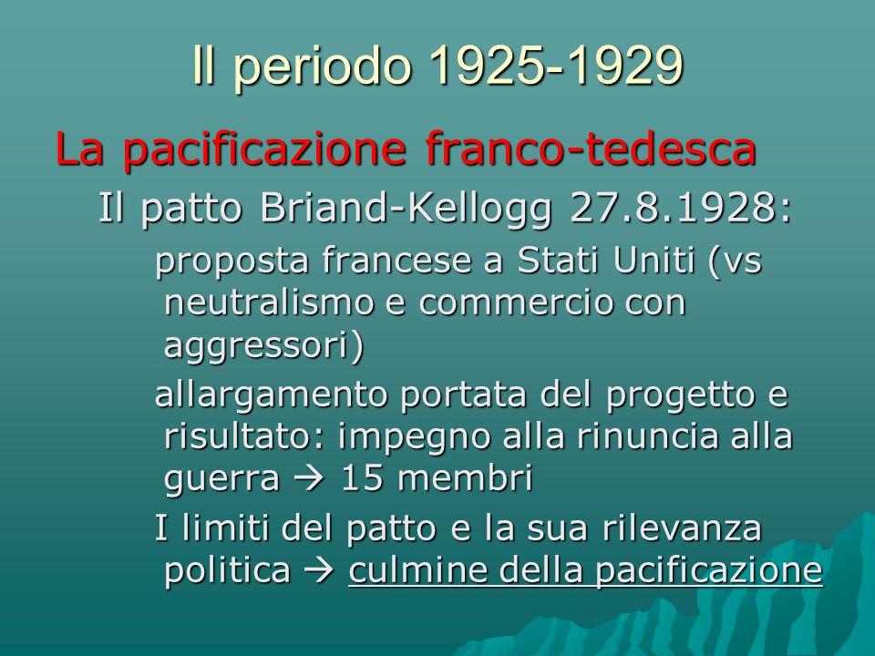 Il periodo 1925-1929 La pacificazione franco-tedesca Il patto Briand-Kellogg 27.8.1928: proposta francese a Stati Uniti (vs neutralismo e commercio co