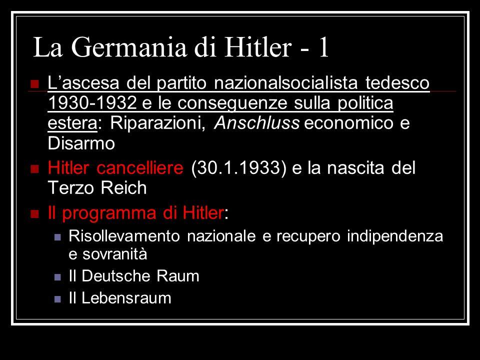 La Germania di Hitler - 1 L'ascesa del partito nazionalsocialista tedesco 1930-1932 e le conseguenze sulla politica estera: Riparazioni, Anschluss eco