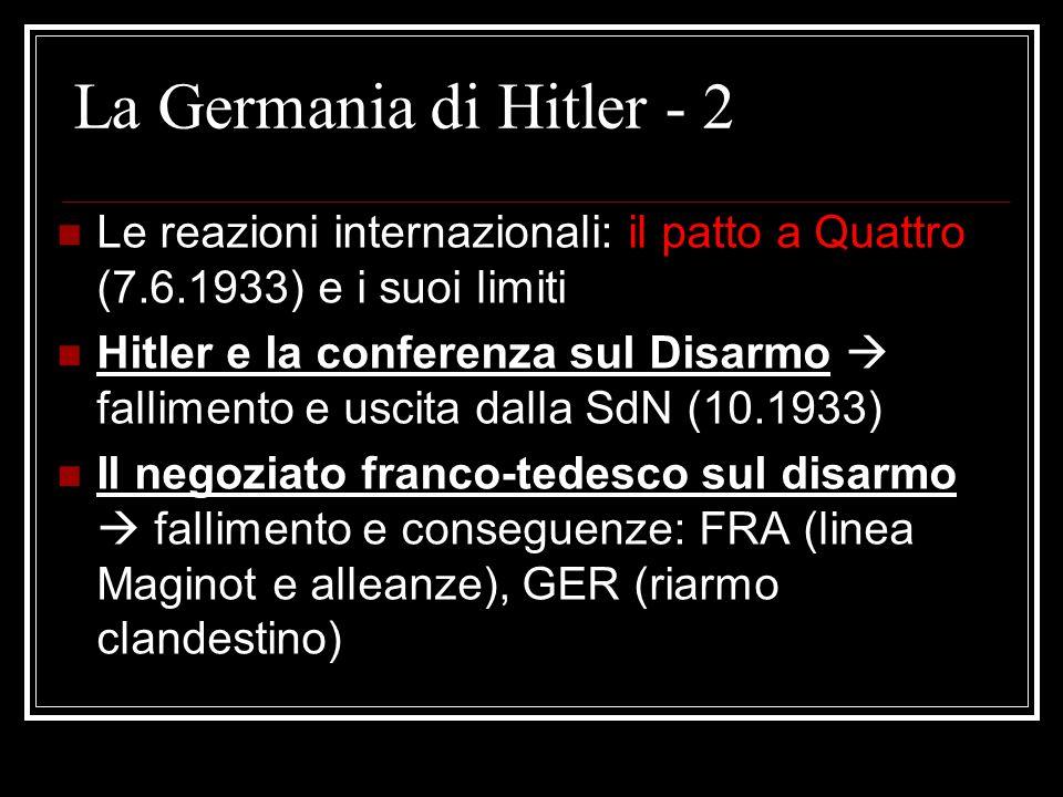 La Germania di Hitler - 2 Le reazioni internazionali: il patto a Quattro (7.6.1933) e i suoi limiti Hitler e la conferenza sul Disarmo  fallimento e