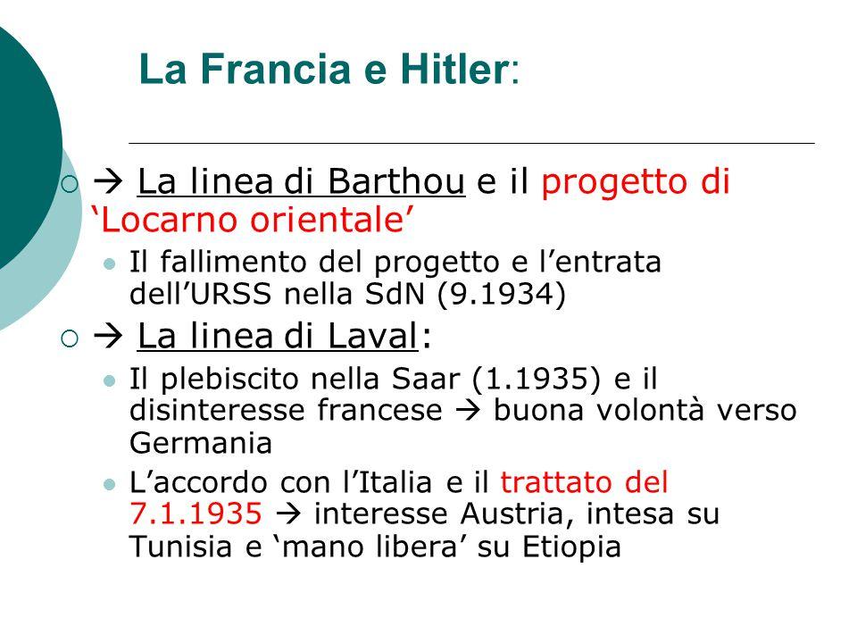 La Francia e Hitler:   La linea di Barthou e il progetto di 'Locarno orientale' Il fallimento del progetto e l'entrata dell'URSS nella SdN (9.1934)