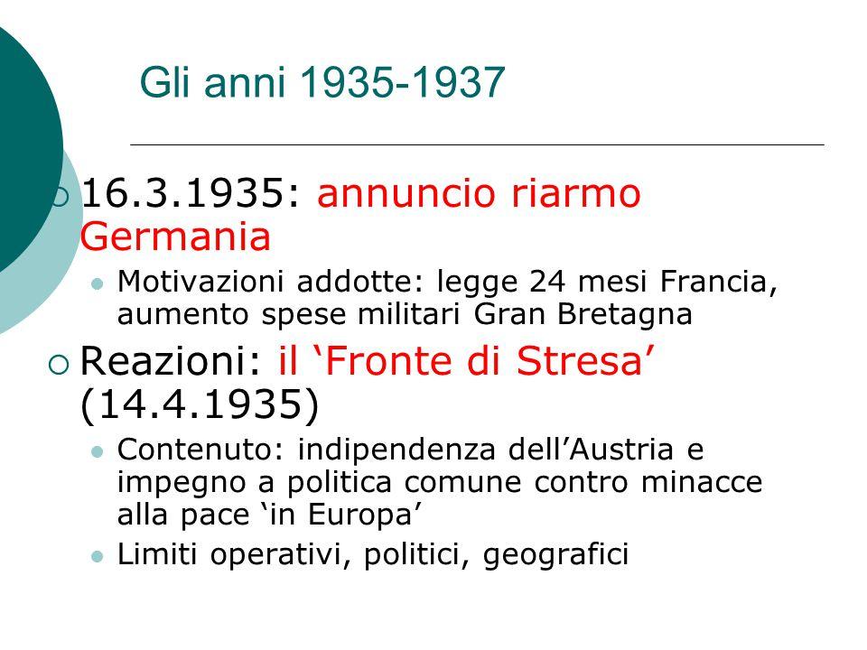 Gli anni 1935-1937  16.3.1935: annuncio riarmo Germania Motivazioni addotte: legge 24 mesi Francia, aumento spese militari Gran Bretagna  Reazioni: