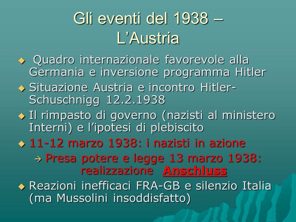 Gli eventi del 1938 – L'Austria  Quadro internazionale favorevole alla Germania e inversione programma Hitler  Situazione Austria e incontro Hitler-