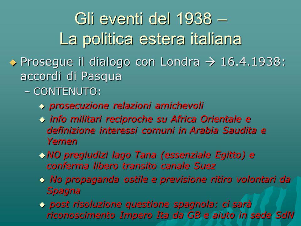 Gli eventi del 1938 – La politica estera italiana  Prosegue il dialogo con Londra  16.4.1938: accordi di Pasqua –CONTENUTO:  prosecuzione relazioni