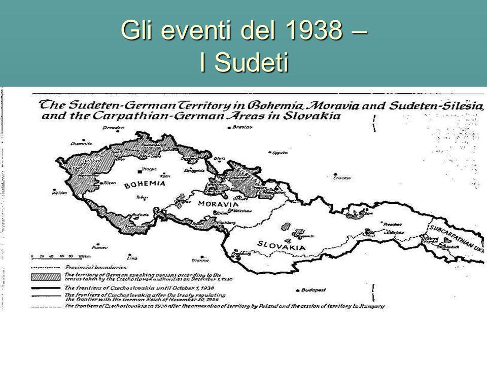 Gli eventi del 1938 – I Sudeti