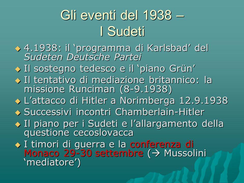  4.1938: il 'programma di Karlsbad' del Sudeten Deutsche Partei  Il sostegno tedesco e il 'piano Grün'  Il tentativo di mediazione britannico: la m
