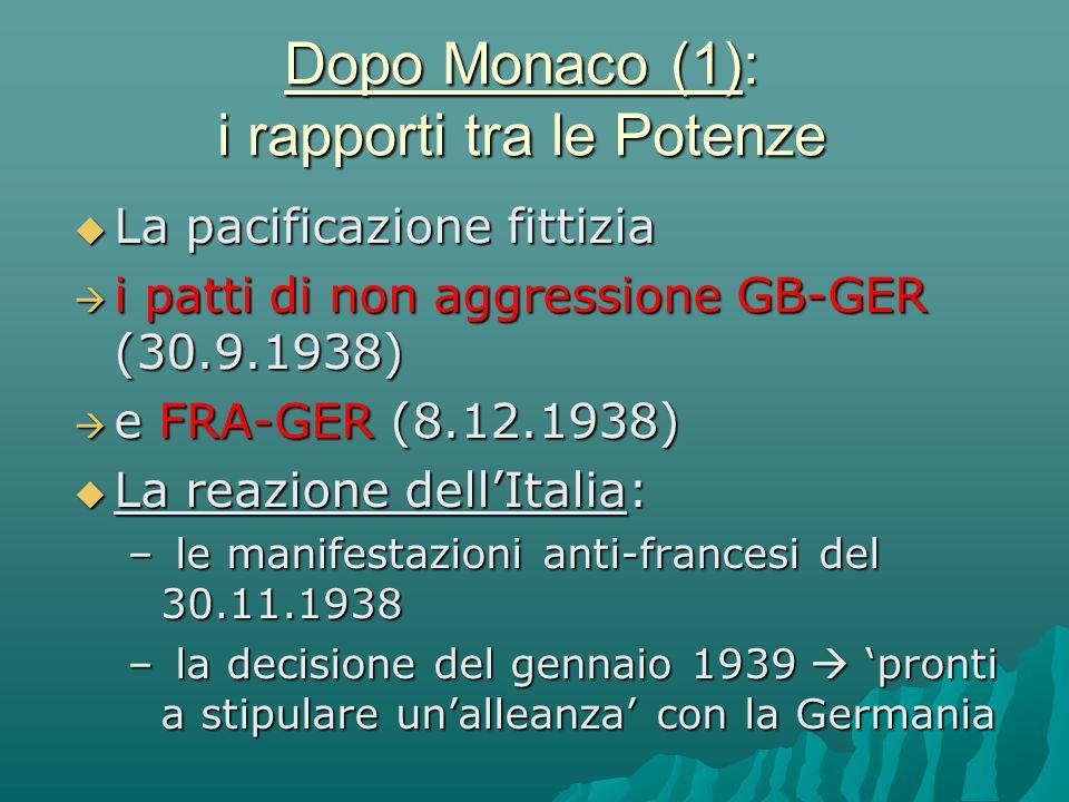 Dopo Monaco (1): i rapporti tra le Potenze  La pacificazione fittizia  i patti di non aggressione GB-GER (30.9.1938)  e FRA-GER (8.12.1938)  La re