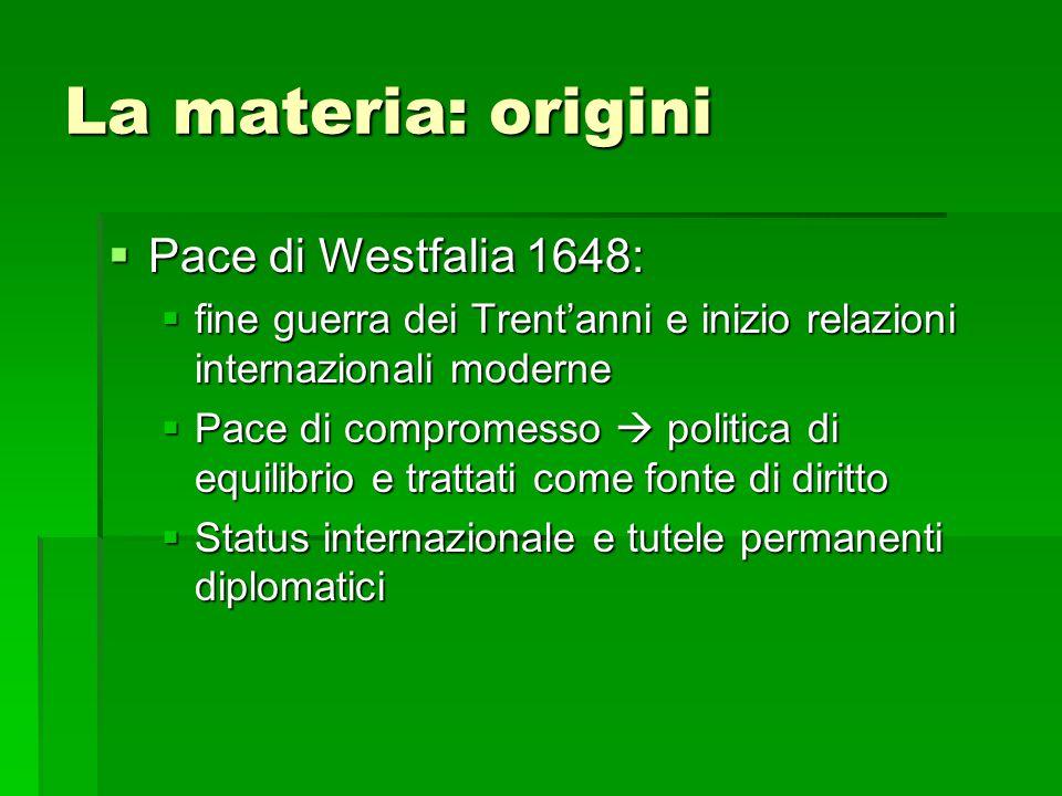 La materia: origini  Pace di Westfalia 1648:  fine guerra dei Trent'anni e inizio relazioni internazionali moderne  Pace di compromesso  politica