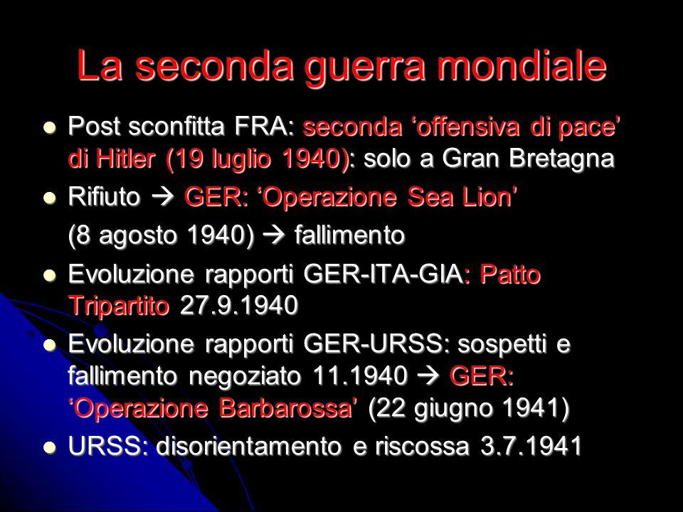 La seconda guerra mondiale Post sconfitta FRA: seconda 'offensiva di pace' di Hitler (19 luglio 1940): solo a Gran Bretagna Post sconfitta FRA: second