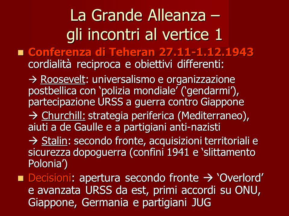 La Grande Alleanza – gli incontri al vertice 1 Conferenza di Teheran 27.11-1.12.1943 cordialità reciproca e obiettivi differenti: Conferenza di Tehera