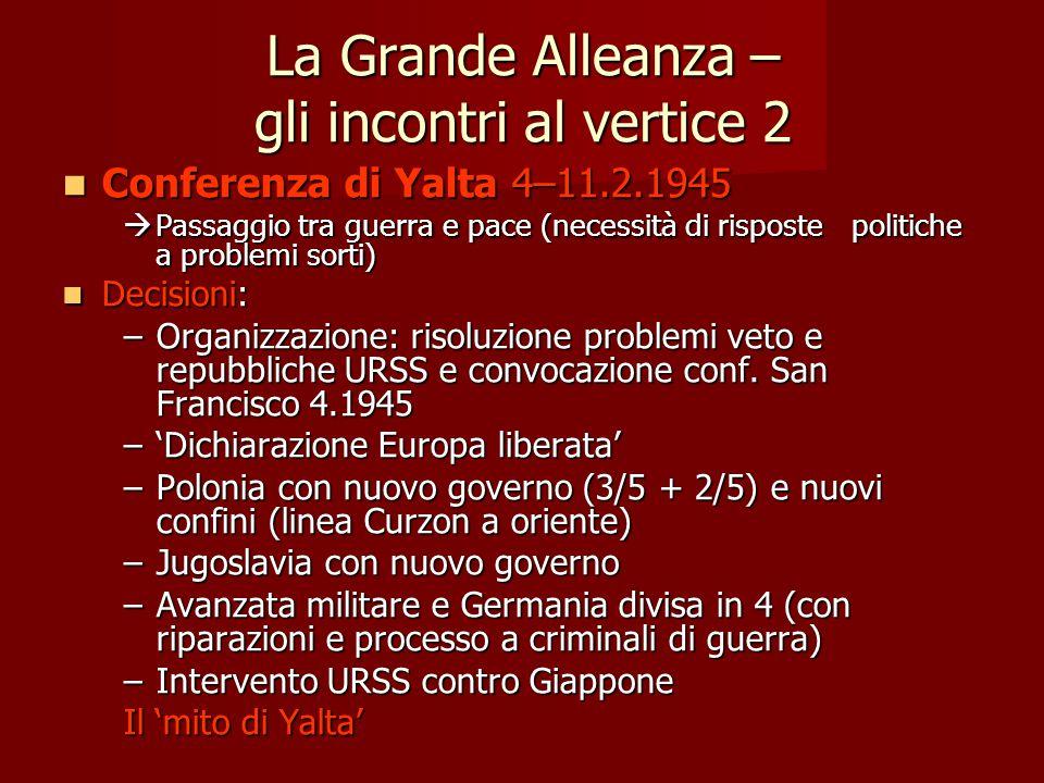 La Grande Alleanza – gli incontri al vertice 2 Conferenza di Yalta 4–11.2.1945 Conferenza di Yalta 4–11.2.1945  Passaggio tra guerra e pace (necessit