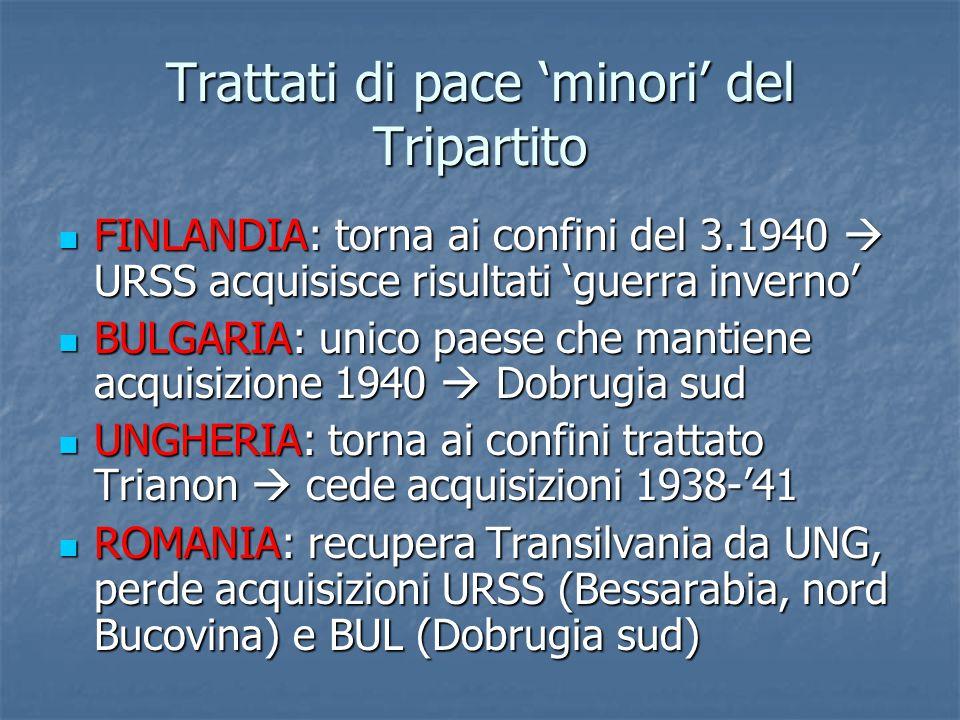 Trattati di pace 'minori' del Tripartito FINLANDIA: torna ai confini del 3.1940  URSS acquisisce risultati 'guerra inverno' FINLANDIA: torna ai confi