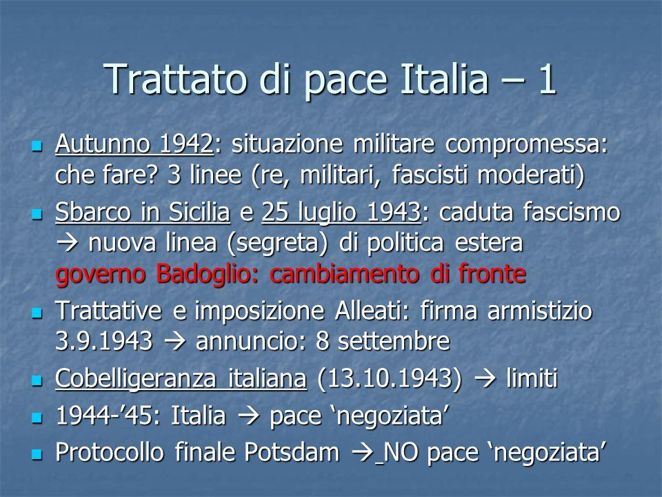 Trattato di pace Italia – 1 Autunno 1942: situazione militare compromessa: che fare? 3 linee (re, militari, fascisti moderati) Autunno 1942: situazion