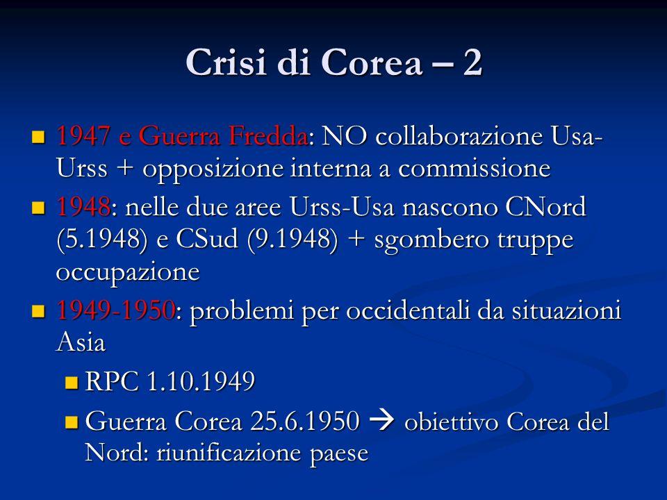 Crisi di Corea – 2 1947 e Guerra Fredda: NO collaborazione Usa- Urss + opposizione interna a commissione 1947 e Guerra Fredda: NO collaborazione Usa-