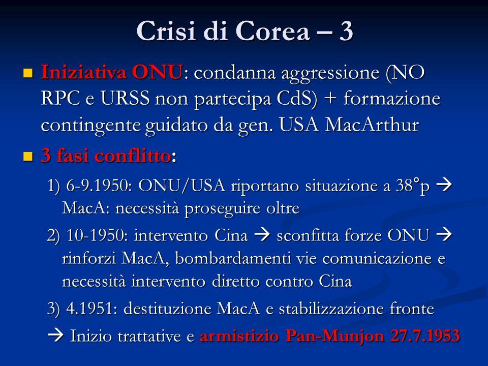 Crisi di Corea – 3 Iniziativa ONU: condanna aggressione (NO RPC e URSS non partecipa CdS) + formazione contingente guidato da gen. USA MacArthur Inizi