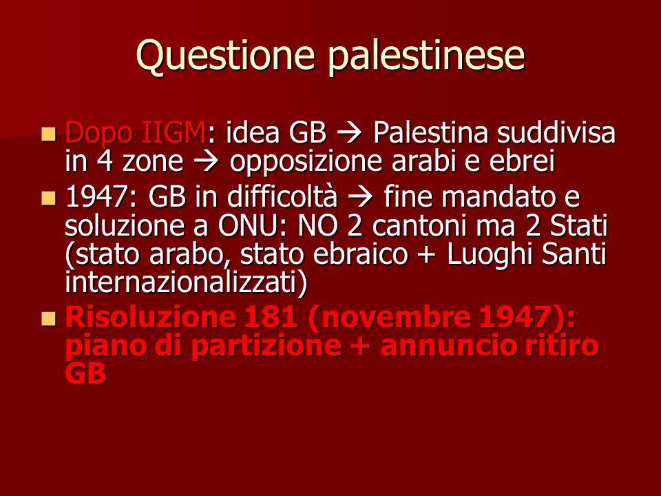 Questione palestinese Dopo IIGM: idea GB  Palestina suddivisa in 4 zone  opposizione arabi e ebrei Dopo IIGM: idea GB  Palestina suddivisa in 4 zon