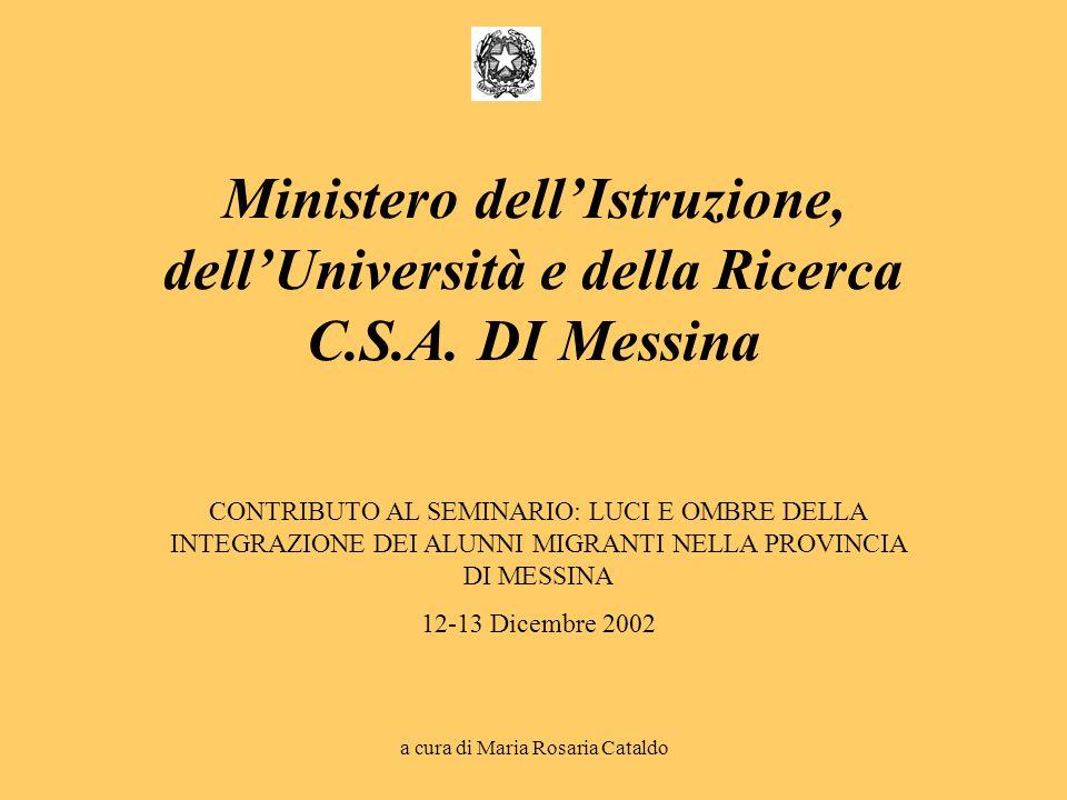 a cura di Maria Rosaria Cataldo CONTRIBUTO AL SEMINARIO: LUCI E OMBRE DELLA INTEGRAZIONE DEI ALUNNI MIGRANTI NELLA PROVINCIA DI MESSINA 12-13 Dicembre