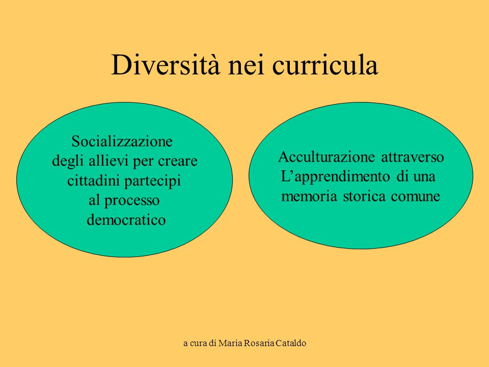 a cura di Maria Rosaria Cataldo Diversità nei curricula Socializzazione degli allievi per creare cittadini partecipi al processo democratico Accultura