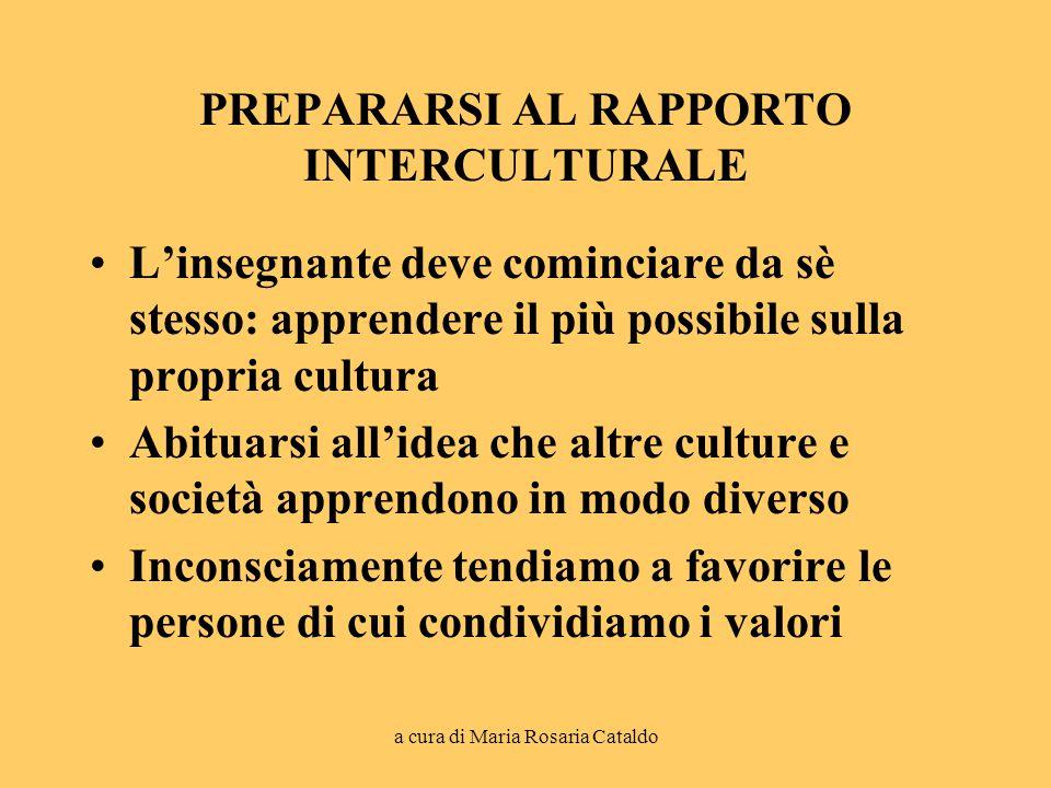 a cura di Maria Rosaria Cataldo PREPARARSI AL RAPPORTO INTERCULTURALE L'insegnante deve cominciare da sè stesso: apprendere il più possibile sulla propria cultura Abituarsi all'idea che altre culture e società apprendono in modo diverso Inconsciamente tendiamo a favorire le persone di cui condividiamo i valori
