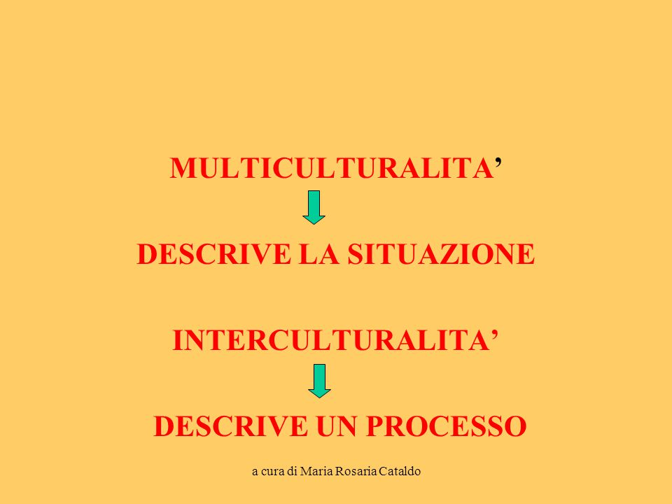 a cura di Maria Rosaria Cataldo MULTICULTURALITA' DESCRIVE LA SITUAZIONE INTERCULTURALITA' DESCRIVE UN PROCESSO