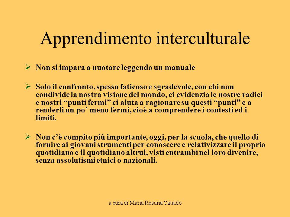 a cura di Maria Rosaria Cataldo Apprendimento interculturale  Non si impara a nuotare leggendo un manuale  Solo il confronto, spesso faticoso e sgra