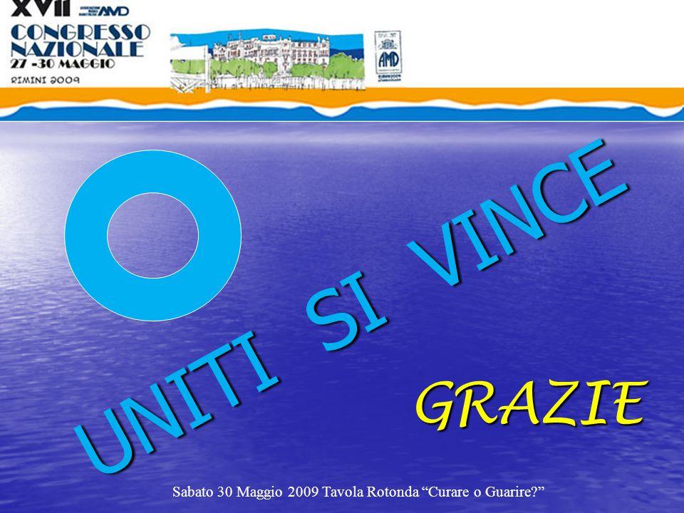 """UNITI SI VINCE GRAZIE Sabato 30 Maggio 2009 Tavola Rotonda """"Curare o Guarire?"""""""
