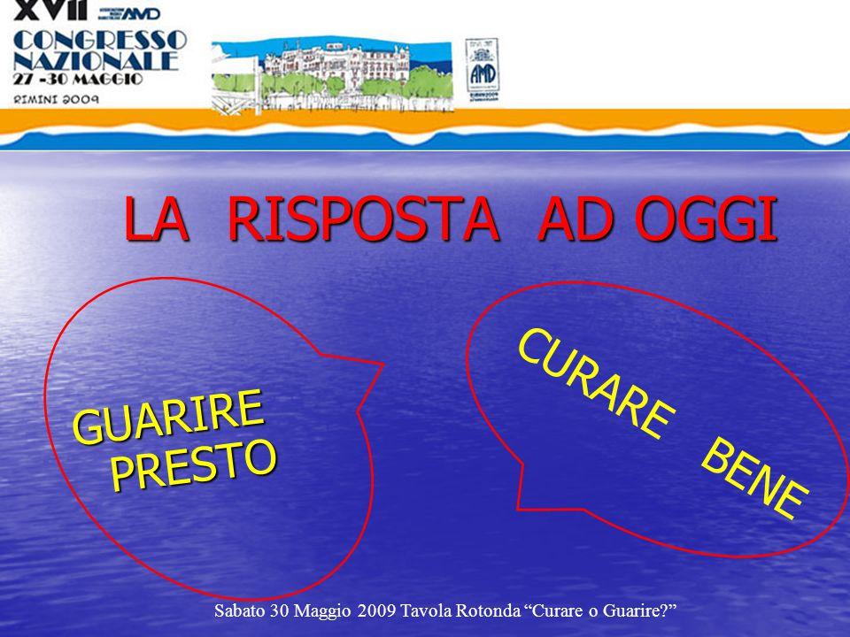 """LA RISPOSTA AD OGGI GUARIRE PRESTO Sabato 30 Maggio 2009 Tavola Rotonda """"Curare o Guarire?"""" CURARE BENE"""