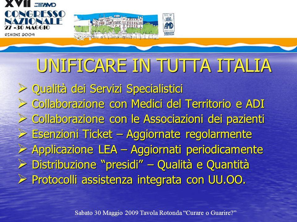 UNIFICARE IN TUTTA ITALIA  Qualità dei Servizi Specialistici  Collaborazione con Medici del Territorio e ADI  Collaborazione con le Associazioni de