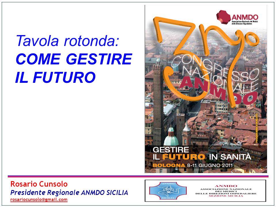 Tavola rotonda: COME GESTIRE IL FUTURO Rosario Cunsolo Presidente Regionale ANMDO SICILIA rosariocunsolo@gmail.com