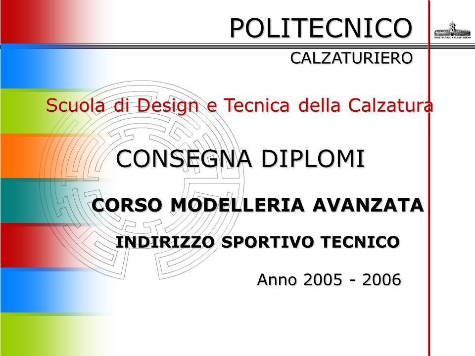 POLITECNICO CALZATURIERO Scuola di Design e Tecnica della Calzatura CONSEGNA DIPLOMI CORSO MODELLERIA AVANZATA INDIRIZZO SPORTIVO TECNICO Anno 2005 -