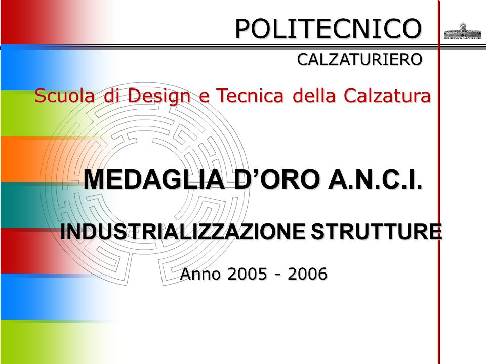 POLITECNICO CALZATURIERO Scuola di Design e Tecnica della Calzatura MEDAGLIA D'ORO A.N.C.I. INDUSTRIALIZZAZIONE STRUTTURE Anno 2005 - 2006 Anno 2005 -
