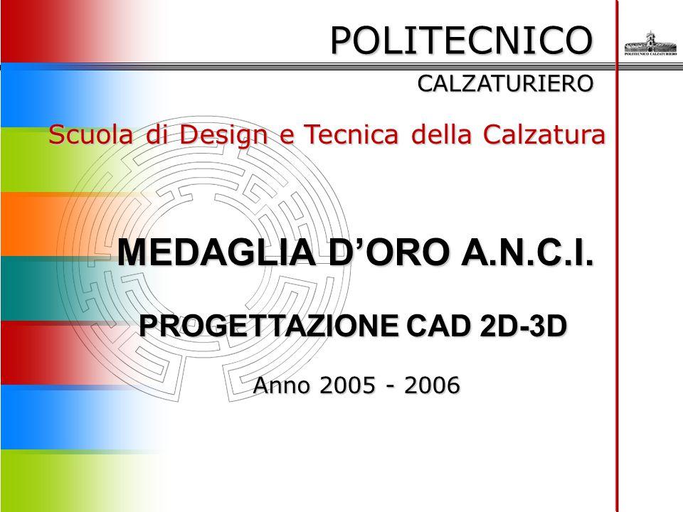 POLITECNICO CALZATURIERO Scuola di Design e Tecnica della Calzatura MEDAGLIA D'ORO A.N.C.I. PROGETTAZIONE CAD 2D-3D Anno 2005 - 2006 Anno 2005 - 2006