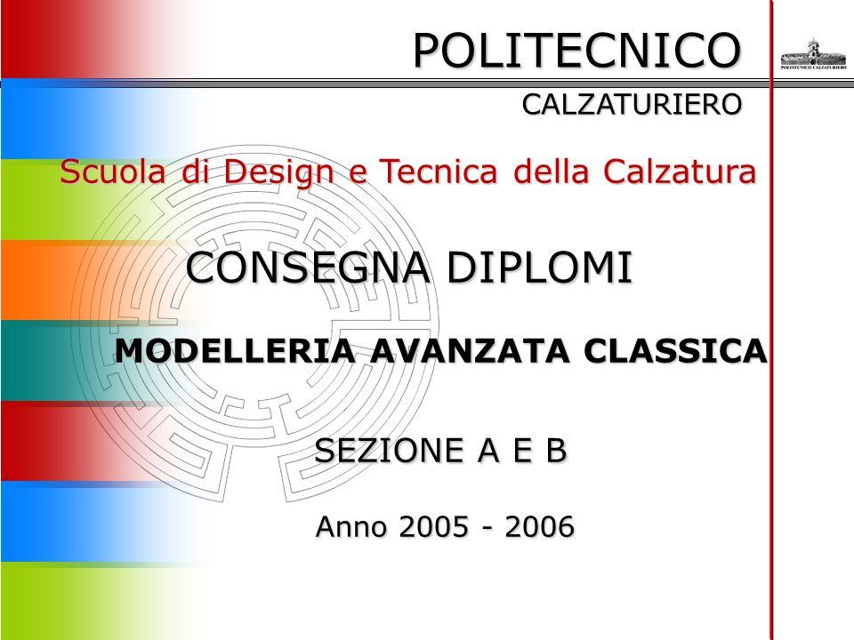 POLITECNICO CALZATURIERO Scuola di Design e Tecnica della Calzatura CONSEGNA DIPLOMI MODELLERIA AVANZATA CLASSICA SEZIONE A E B Anno 2005 - 2006 Anno