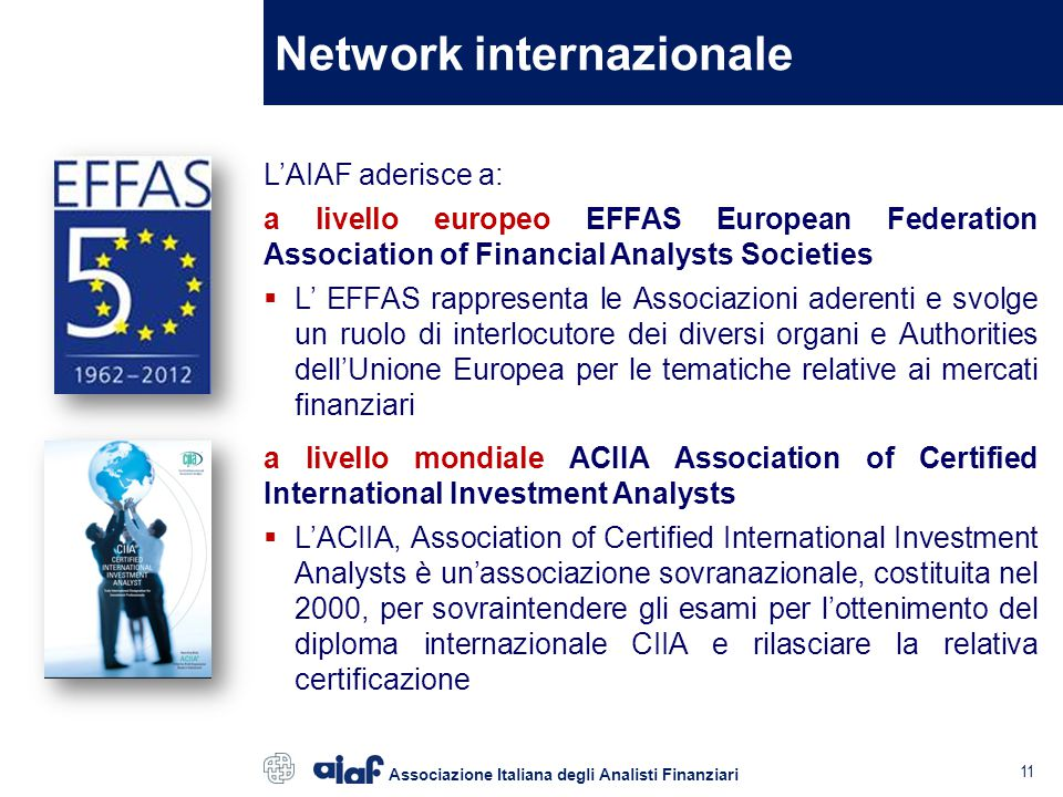 Network internazionale L'AIAF aderisce a: a livello europeo EFFAS European Federation Association of Financial Analysts Societies  L' EFFAS rappresen