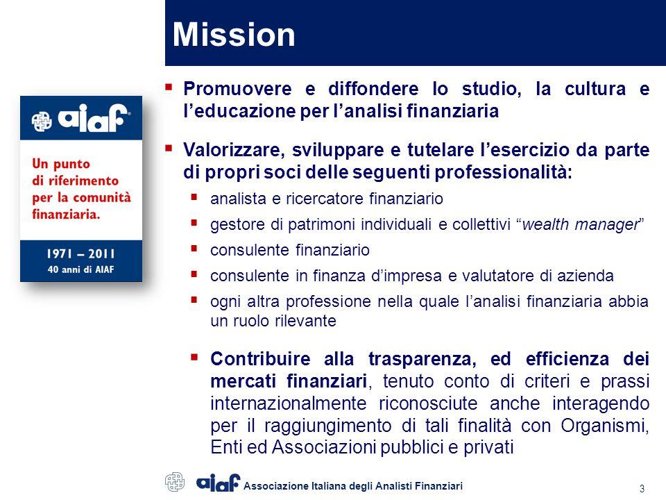 Soci AIAF Principali categorie professionali oltre 1.000 soci Associazione Italiana degli Analisti Finanziari 4