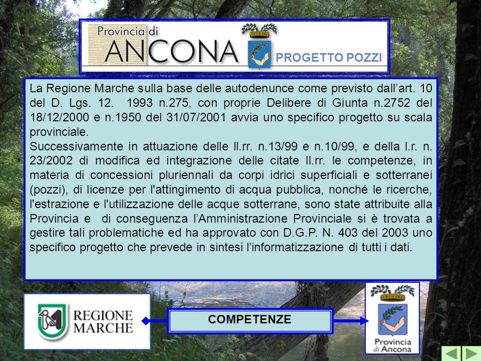 Progetto Pozzi La Regione Marche sulla base delle autodenunce come previsto dall'art. 10 del D. Lgs. 12. 1993 n.275, con proprie Delibere di Giunta n.