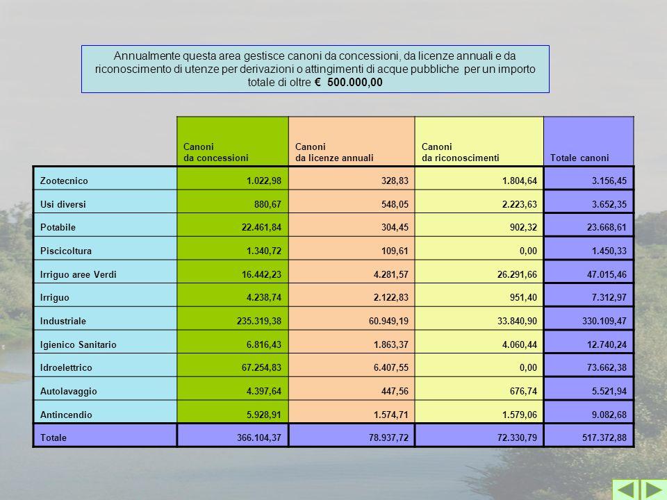 Canoni da concessioni Canoni da licenze annuali Canoni da riconoscimentiTotale canoni Zootecnico1.022,98328,831.804,643.156,45 Usi diversi880,67548,05