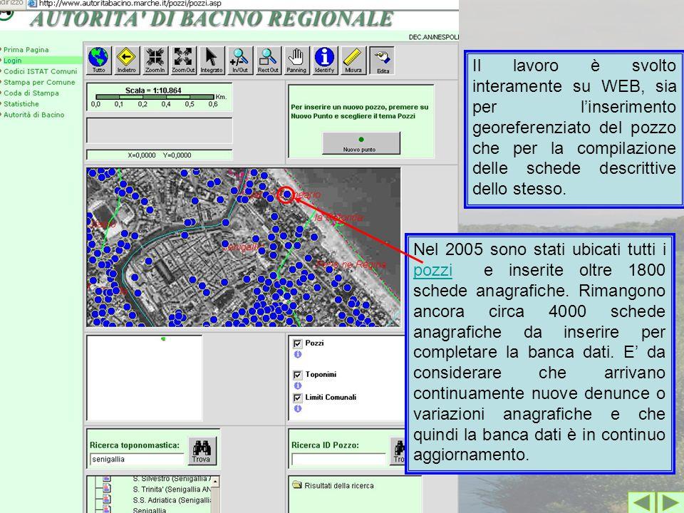 Nel 2005 sono stati ubicati tutti i pozzi e inserite oltre 1800 schede anagrafiche. Rimangono ancora circa 4000 schede anagrafiche da inserire per com